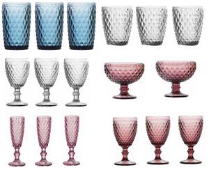 6X-SIDARI-LINE-Vintage-sundae-tumblers-flutes-wine-Glasses-Bowls-PINK-BLUE-CLEAR