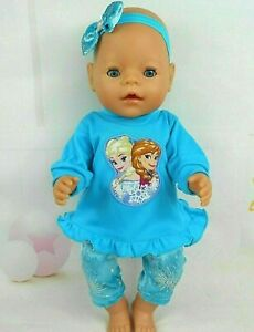 Dolls-clothes-for-17-034-Baby-Born-16-034-CPK-doll-FROZEN-ELSA-amp-ANNA-AQUA-TOP-TIGHTS