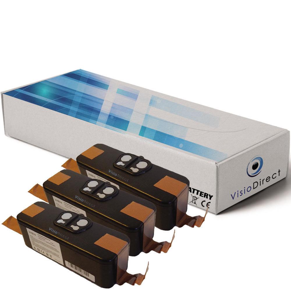 Lot de 3 batteries 14.4V 4400mAh pour iRobot Roomba 876 - Société Française -