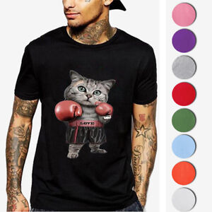 Homme-T-shirts-Chat-Imprimes-a-Manches-Courtes-Respirant-Hip-Mode-Tee-Hauts-Tops