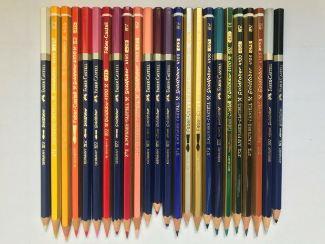 24 vintage colored pencils awfabercastell goldfaber