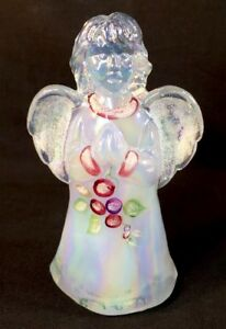 Fenton-Art-Glass-Hand-Painted-034-Frostberries-034-On-French-Opalescent-Carnival-Angel