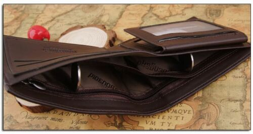 new Men/'s Leather Wallet ID Bifold Credit Leather Purse Short Card Holder gift
