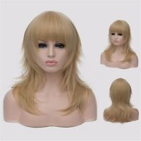 Women Gold Neat Bangs Blonde Wigs Long Straight Cosplay Full Hair Anime Coser