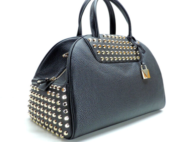 Michael Kors Austin Studded Leather Bowling Satchel Handbag Strap Black New