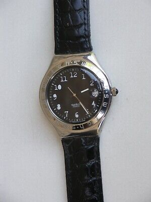 Montre SWATCH Irony Black YGS407 bracelet cuir noir collection 1997 neuve | eBay