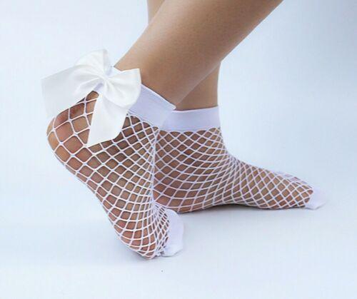 SUPER CUTE White Fishnet Socks medium holes big 3D bow UK Fast Post BNWT