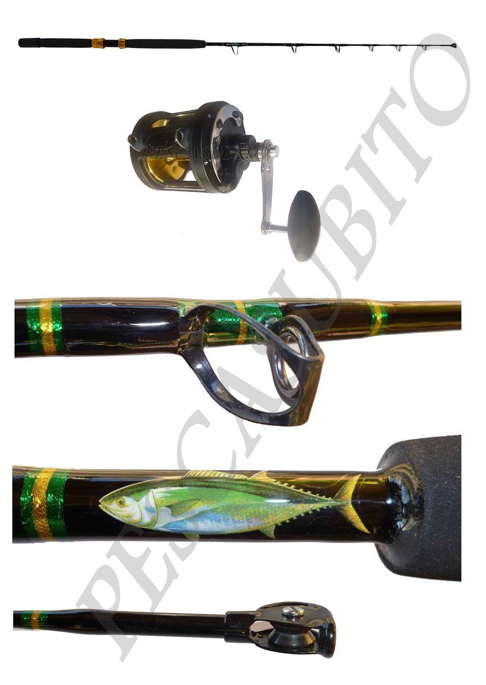 Kit canna traina biggame biggame biggame drifting tonno 30-60lb + mulinello pesca tp d85579
