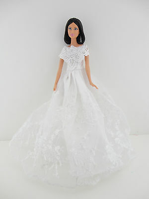White Wedding Gown with Lots of Great Details Made to Fit Barbie Doll