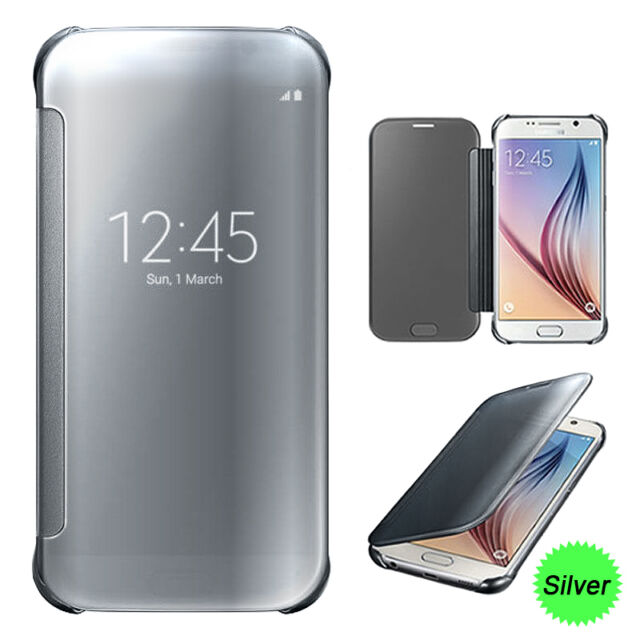 Smart Mirror Shiny View Flip Hard Case Cover With Sleep Wake For Samsung Phones