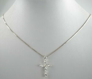 reizende-925er-Silber-Halskette-amp-Anhaenger-Sterlingsilber-Zirkonia-Kreuz-3-94g
