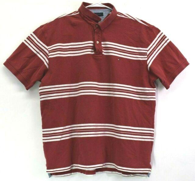 51633c0d Tommy Hilfiger Men's 2XL XXL Short Sleeve Spring Summer Polo Shirt Striped  Red