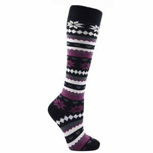 1 Pair Ladies Foxbury Black Fair-isle Knee High Thermal Cotton Sock, Size 4-7