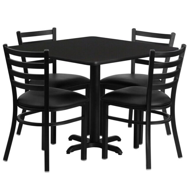 Restaurant Table Chairs 36 Black Laminate With 4 Ladder Back Meta Vinyl Seat For Sale Online