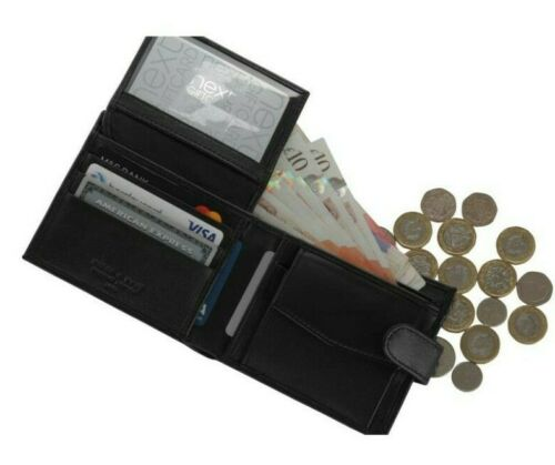 Leather Wallet Card Id Credit Mens Genuine Men Bifold RFID Coin Money Purse BB13
