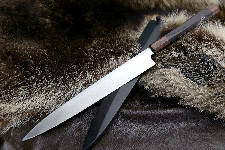Yoshihiro Hammerot Damascus Suminagashi Weiß Weiß Weiß High Carbon Steel Yanagi Chef Knif 69f18a
