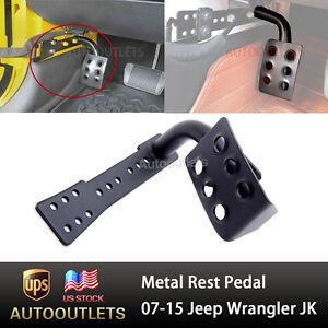 Black Metal Dead Pedal Left Side Foot Rest Kick Panel for 2007-17 Jeep Wrangler