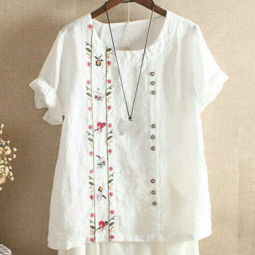 Women Embroidered Cotton Linen T Shirt Tops Loose Short Sleeve Blouse Plus Size