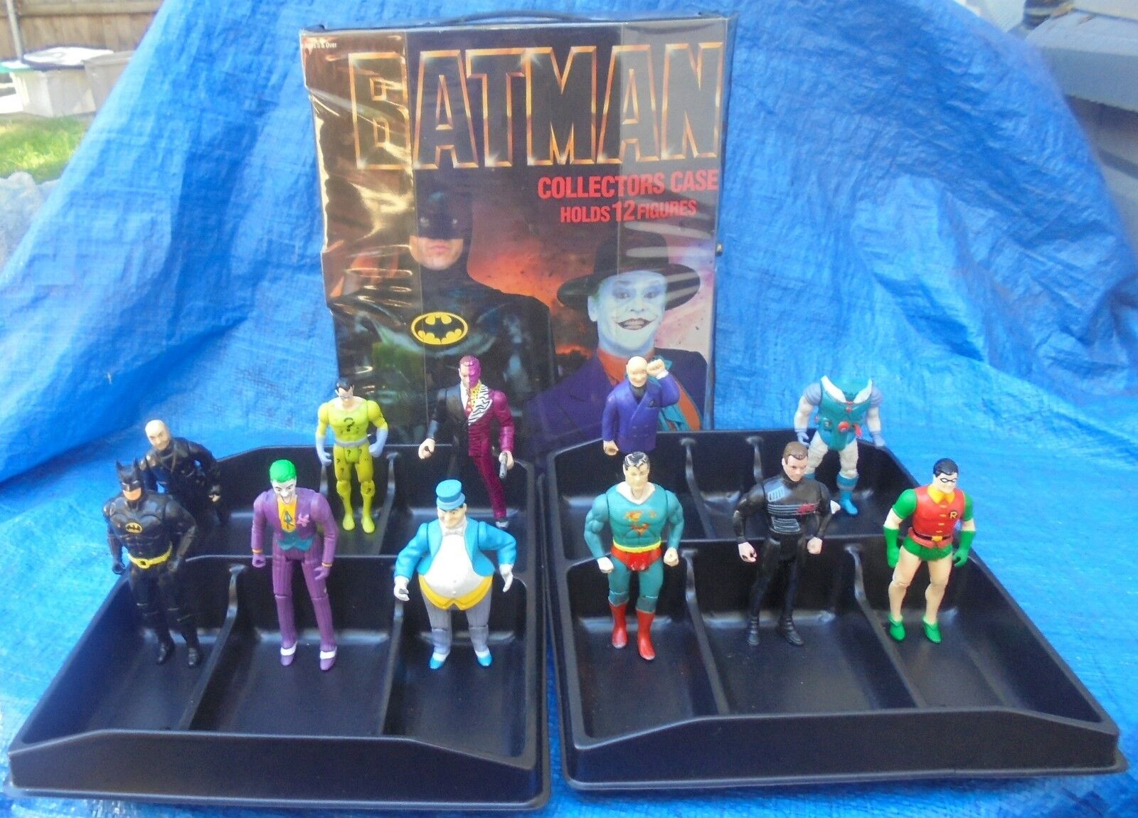 Batman Collectors Case DC Super Heroes Action Figure Lot Kenner Toybiz Superman