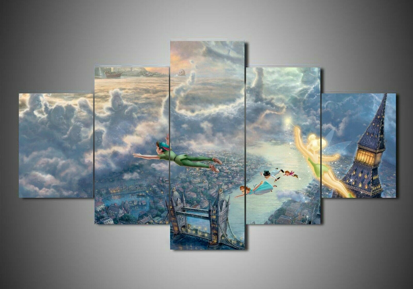 Peter Pan Neverland Flying Five Piece Framed Canvas Multi Panel Home Decor Wall
