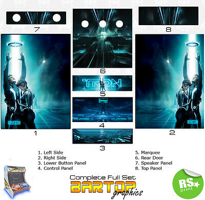 Tron Full/Half Sets Arcade Stickers Graphics / Laminated All Sizes