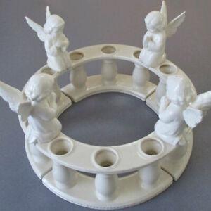 Vintage 8-Part Glazed Porcelain Centerpiece CANDLE HOLDERS Winged ANGELS Columns
