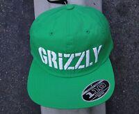 Diamond Grizzly Griptape Stamp Logo Nylon Green Mens Skate Co. Snapback Hat