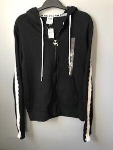 Felpa di nera zip Nwt Arms Logo Secret con con Victoria's cappuccio zip full Snap Stripe Medium qqCr0w