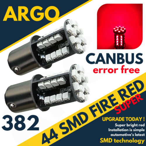 2 X RED TAIL//STOP//BRAKE LED CANBUS BULBS ERROR FREE 382 1156 P21W BA15S 44 SMD