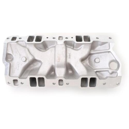 Edelbrock Intake Manifold 7101; Performer RPM Dual Plane Satin Aluminum for SBC