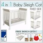 BRAND NEW 4 In 1 White Fixedside Baby Toddler Wooden Sleigh Cot Bed Mattress