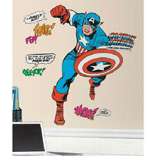 """CLASSIC CAPTAIN AMERICA wall stickers MURAL 23 decals Marvel 46"""" tall superhero"""