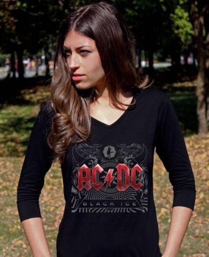 AC DC Black Ice  ACDC  Langarm 3//4 damen lady T-shirt Shirt Rock tee