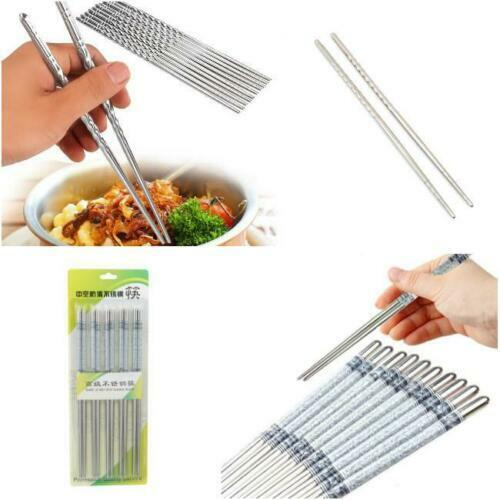 Stainless Steel Chopsticks Reusable Metal Chinese-Food Nonslip-Chop Stick NEW.