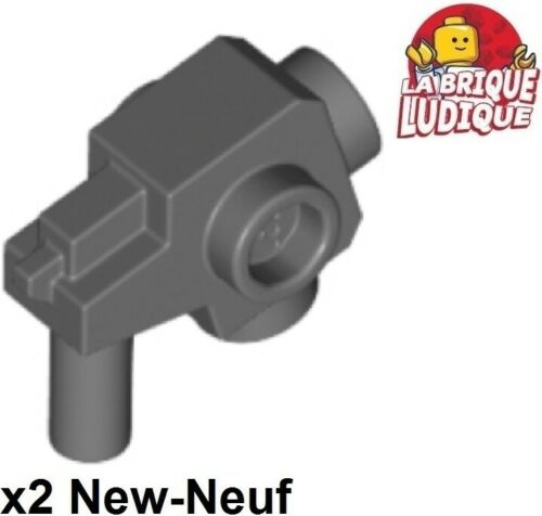 Lego 2x minifig arme weapon gun pistolet blaster stud gris foncé 44709 NEUF