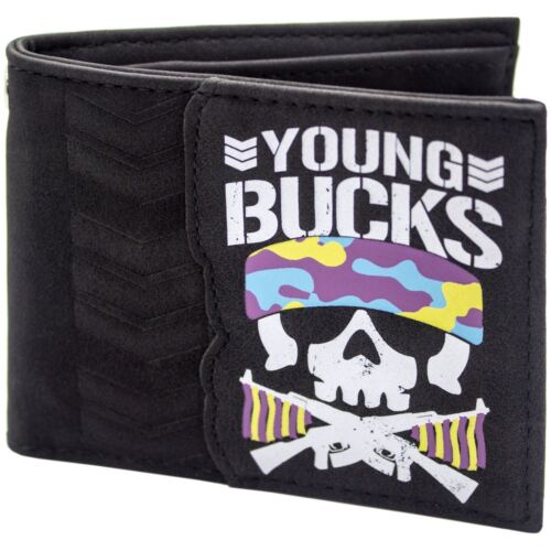 NEW OFFICIAL BULLET CLUB YOUNG BUCKS BONE SOLDIER BLACK ID /& CARD BI-FOLD WALLET
