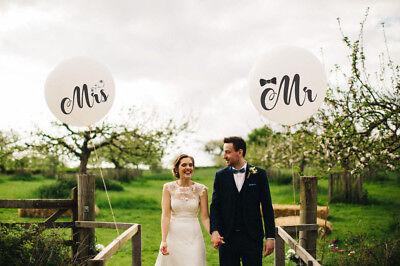 Mr Mrs White Balloons Wedding tail Tassel Garland latex balloons engaged bride