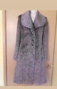 grigio donna Pelliccia £ Silver Next rrp 10 120 taglia viola ecologica w7Iq7pOR