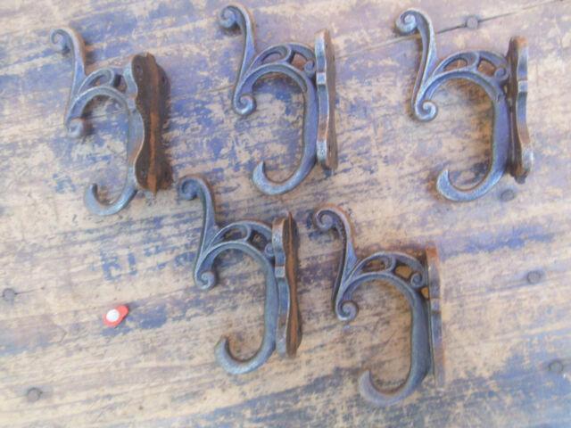 5 X CAST IRON fancy scroll COAT HOOKS - light rust look - new