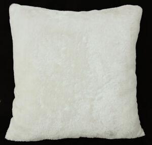 Fg20a Cream White Plain Soft Faux Fur Cushion Cover Pillow Case
