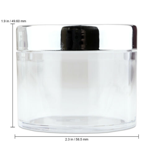 36pc High Quality Acrylic Leak Proof Container Jars w//Silver Lids 2oz//60g//60ml
