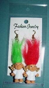 "Troll Doll 1/"" Russ Good Luck Christmas  Angel Green//Red Pierced Earrings"