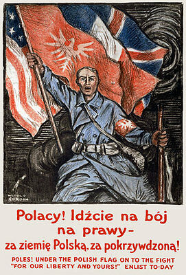 A1 A2 A3 W57 Vintage WWI Polish Army In France Recruitment War Poster WW1