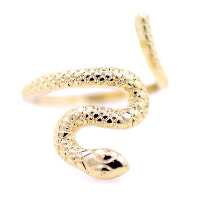 VINTAGE Punk Goth Stile a spirale serpente anello con cristallo nero taglia UK O