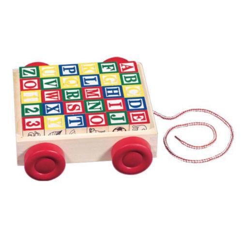 NEW Melissa and Doug Classic ABC Wooden Block Cart 30 Blocks Educational Toy