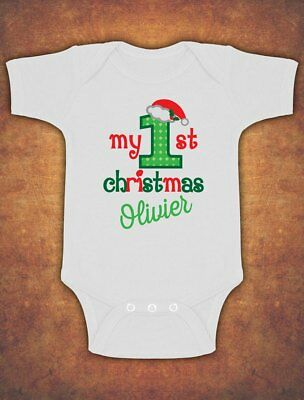 Personalised My First 1st Christmas Xmas Santa Elf Kids Present  Body Suit Vest