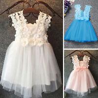 Mädchen Kinder Minikleid Blumenmädchen Hochzeit Abend Party Kommunionkleid Kleid