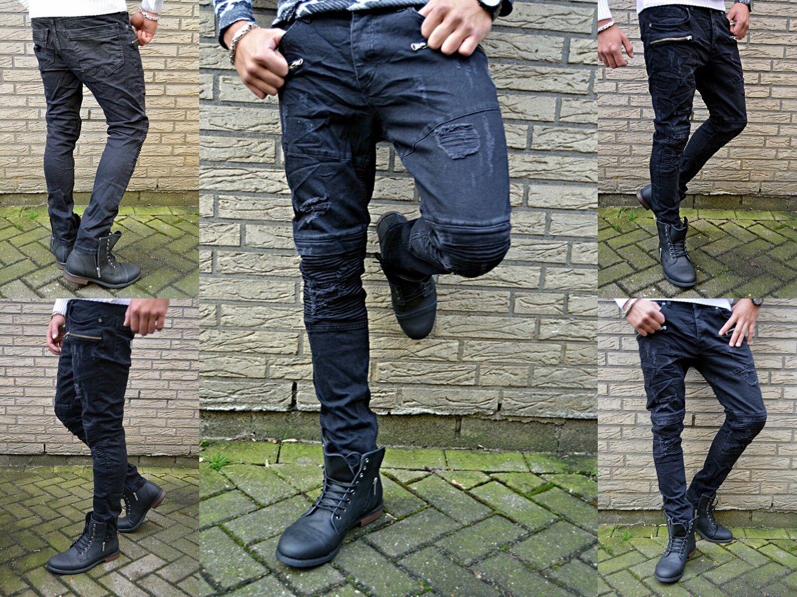 Young Fashion Uomo Street Kargo Rocker Stile Biker Jeans a Sigaretta Aderenti