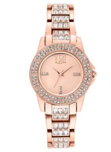 Badgley Mischka Swarovski Crystal Ladies Watch Rose Gold-Tone 30m Water Res.