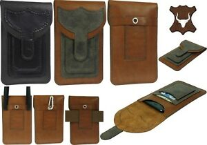 HANDMADE-GENUINE-LEATHER-WAIST-BAG-WITH-2-POCKETS-POUCH-CASE-FOR-MOBILE-PHONES